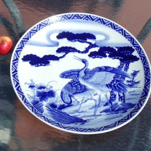 Japanese Imari Blue and White Porcelain Charger 19th Century Nippon