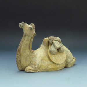 Tang Dynasty Recumbent Bactrian Camel Unglazed Pottery, Estate Col.