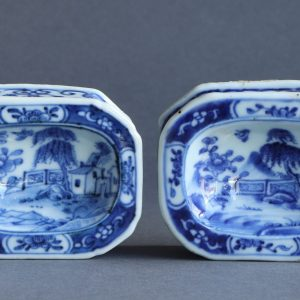 A pair of Chinese export underglaze blue salts, Qianlong