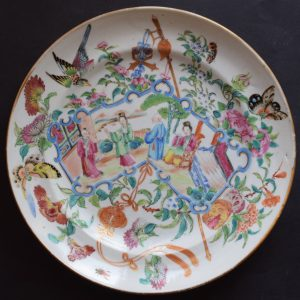 Antique Chinese rose mandarin canton rose plate second half of 19th c #520