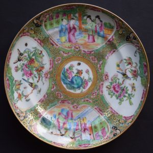Antique Chinese Canton Rose Medallion dish with melon reserves famille rose #565