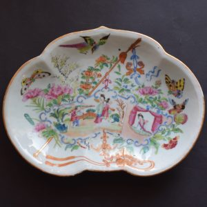 Antique Chinese rose mandarin rose canton platter kidney scalloped shape #517