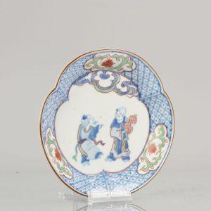 Edo 时期日本瓷盘古董 ko-Kutani ca 1660-80