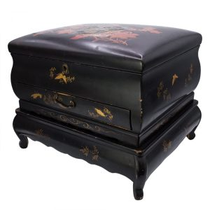 Antique Japanese Gilt Lacquer Game Storage Box with Original Lacquered Stand