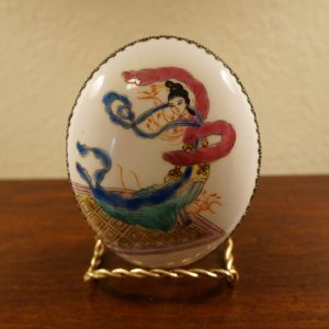 Antique Chinese Makeup Metal Box with Dancing Geisha Porcelain Cover