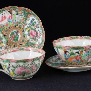 Two Rose Mandarin cups and saucers, eggshell porcelain, 19th century