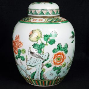 Chinese 19th C Famille Verte Ginger Jar with Lid