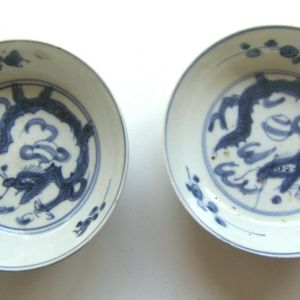 Pair Japanese 17th Cent. Dragon Swatow Sometsuke Dishes
