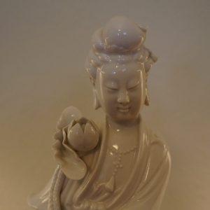 Antique Chinese Blanc-De-Chine Kwan Yin Porcelain Figurine