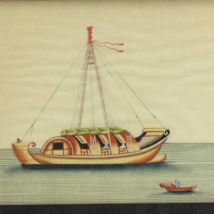 19th C. Chinese Pith Watercolor Of 2 Junks