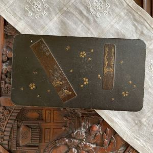 Antique Chinese / Japanese Lacquered wood box / Tea Caddy with two lacquer box inside 詹大有製