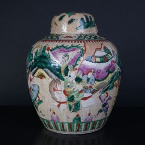 19th century Chinese Famille Verte Nanking crackle covered jar