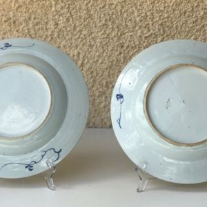 18th C pair of large (Ø27,5CM) Chinese Blue and White Porcelain Plates