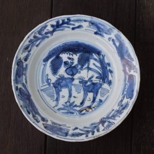 Antique Chinese Ming Dynasty Wanli Kraak plate with Deers #2