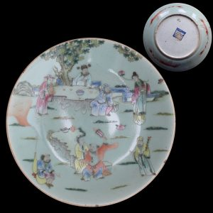 Antique Chinese celadon plate , Eight Immortals Daoguang period