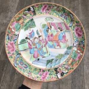 Antique Chinese Qing Dynasty Rose Mandarin plate, 19th century Daoguang #505