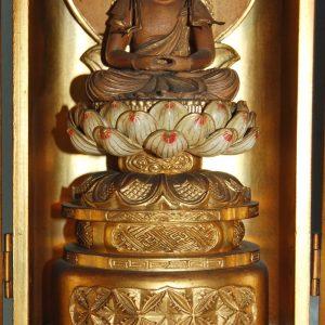 Zushi, Dainichi Nyorai and Aizen Myoo, wooden sculpture, Japan