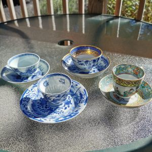 4 teacups and saucers