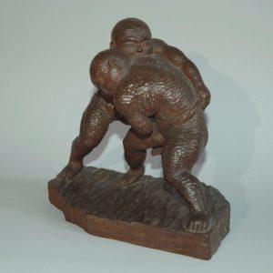 Sumo wrestling boys, Inami sculpture, signed Yokoyama, Cryptomeria wood, Japan