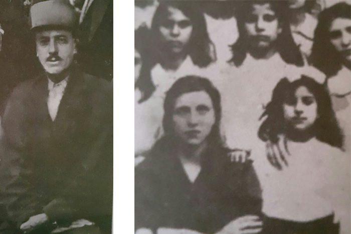 عکس سمت چپ:وثوقالدیوان پدر نشاط وثوقی عکس سمت راست: نشاط وثوقی ایستاده در کنار معلم خود، در کلاس سوم مدرسه ادب، مراغه، ۱۳۲۰