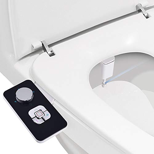 Bidet Attachment Samodra Non Electric Cold Water Bidet Toilet Seat Attachment With Pressure Controls Retractable Self Cleaning Dual Nozzles For Frontal Rear Wash Black Bidet Toilets Bidet Toliet Seats