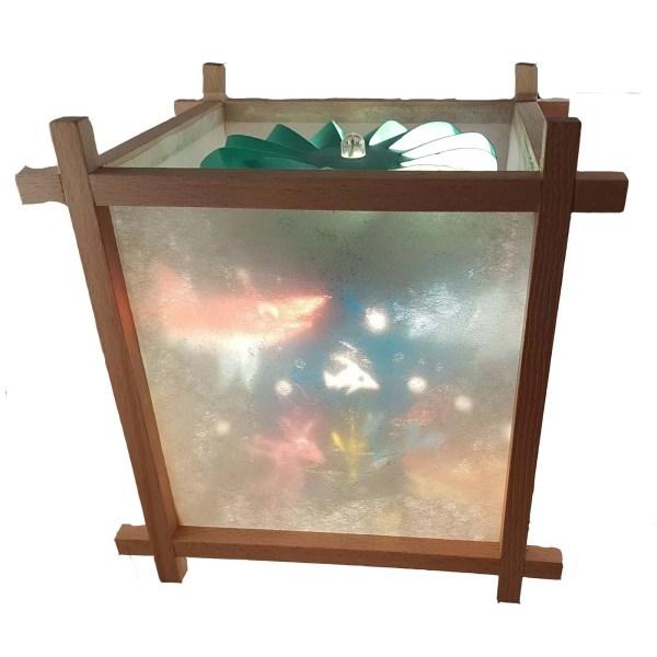 Lanterne Magique Artisanale en bois avec un décor de la mer avec des poissons