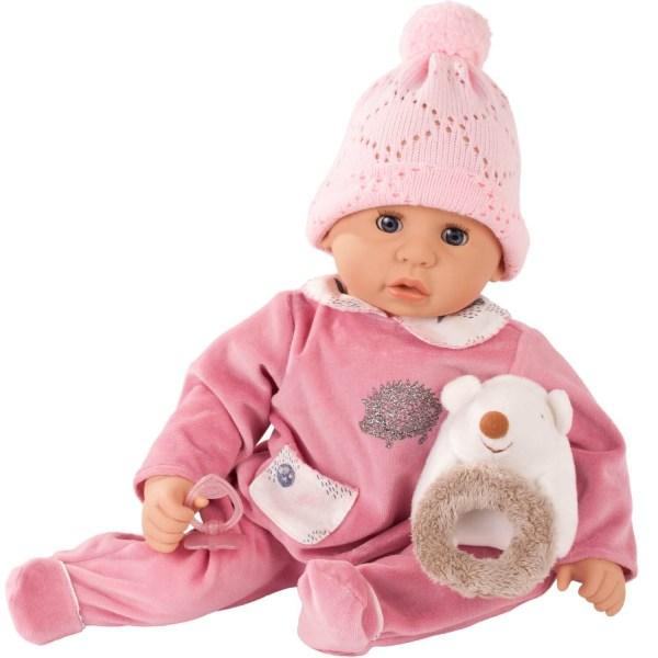 Poupée Cookie Bébé avec un pyjama rose et un hérisson dessus