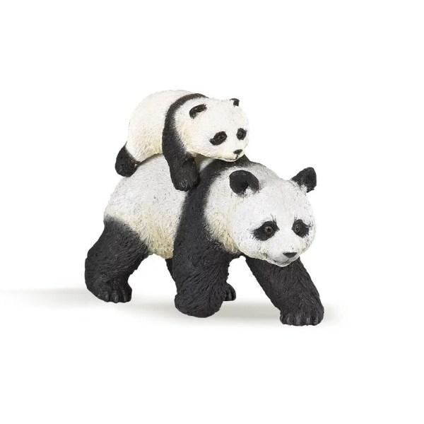 Figurine Les animaux du zoo, Panda et son bébé, Papo, Bidiboule