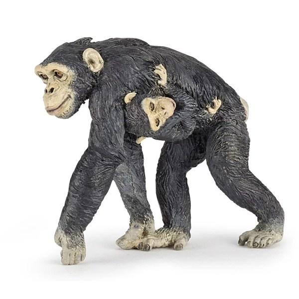 Figurine Les animaux du zoo, Chimpanzé et bébé, Papo, Bidiboule