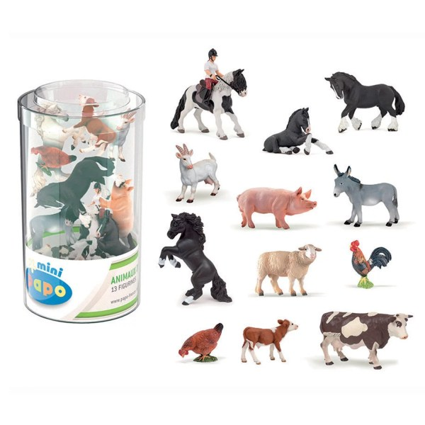 Mini Figurines Animaux de la ferme, Tube mini, Papo, Bidiboule
