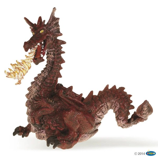 Figurines Monde enchanté, Dragon rouge avec flamme, Papo, Bidiboule