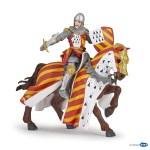 Chevalier au tournoi et son cheval (rouge / jaune)