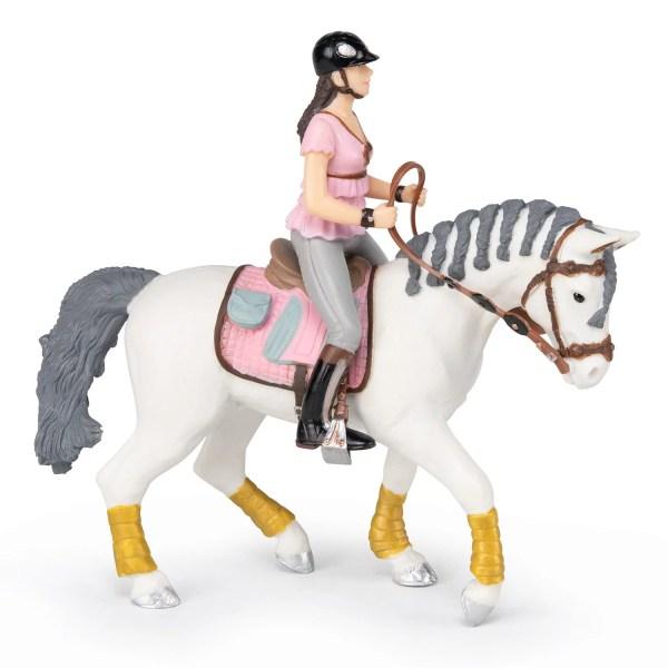 Figurine Chevaux, Cheval tressé de la cavalière fashion rose, Papo, Bidiboule