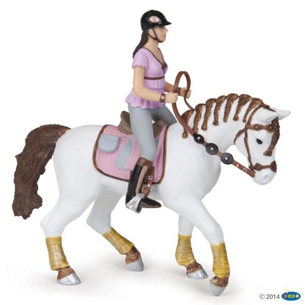 Figurines Chevaux, Cavalière fashion rose et son cheval, Papo, Bidiboule