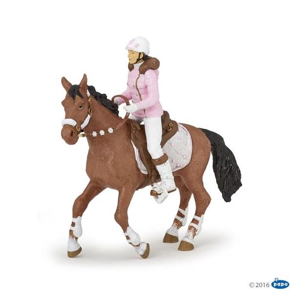 Figurines Chevaux, Cavalière fashion hiver et son cheval, Papo, Bidiboule