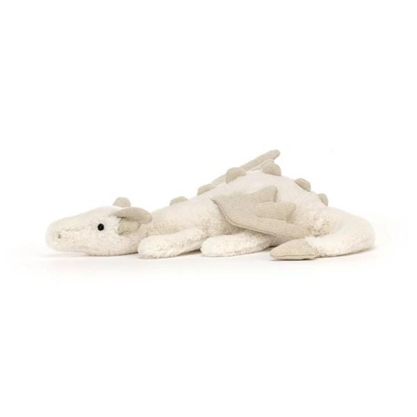 D'une jolie couleur blanc crème, la peluche Dragon des Neiges ne demande qu'à être câliné.