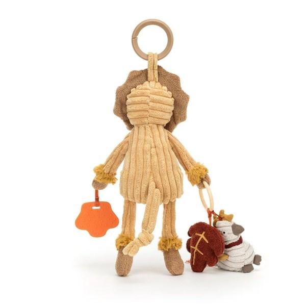 Avec son anneau intégré, vous pourrez l'accrocher partout. Cordy pourra ainsi par exemple être de toutes les promenades. L'anneau de dentition qu'il transporte ainsi que le pouet et les mini peluches qui lui sont attachées feront le bonheur des menottes et des quenottes de Bébé.