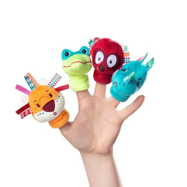 Quatre marionnettes à doigts sur le thème des animaux de la jungle pour amuser Bébé