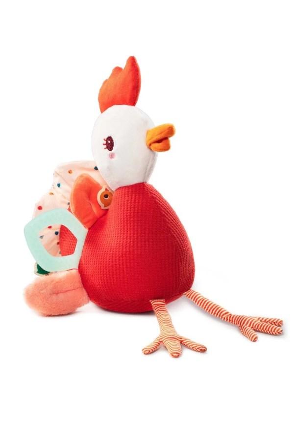 Peluche d'activités en forme de poule Paulette la poulette pour bébé dès trois mois