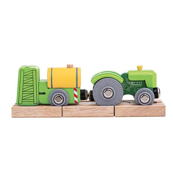 Composé de 3 mini rails en bois et de 2 véhicules, le tracteur et le pulvérisateur agricole sont un train en bois à connections aimantées.