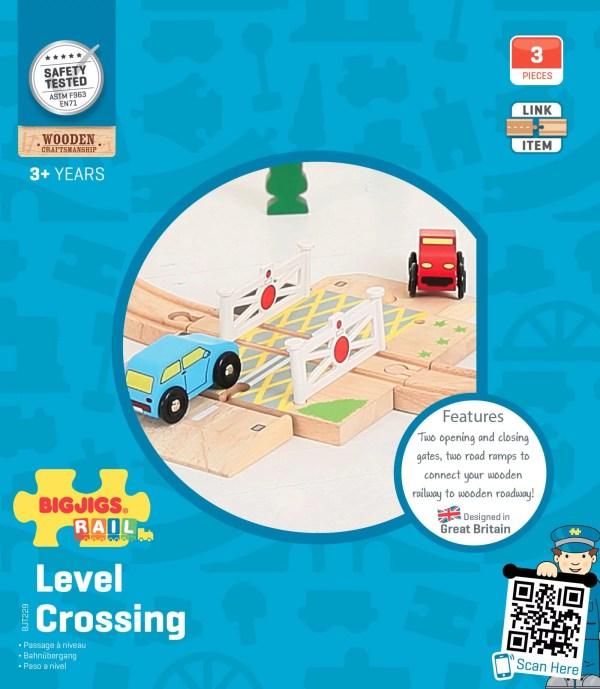 Le passage à niveau pour circuit de train en bois est compatible avec toutes les grandes marques de circuits de train et chemins de fer en bois.