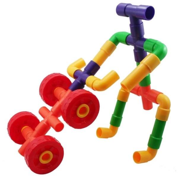 Ce jeu de construction tuyaux encastrables est constitué de tuyaux en plastique de 5 formes et de 5 couleurs vives différentes (rouge, jaune, vert, bleu et jaune