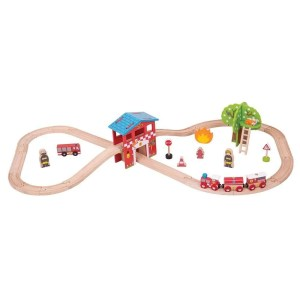 Le circuit de train en bois pompiers contient 39 pièces.