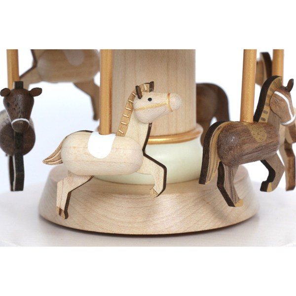 détail sur les chevaux de la Boîte à musique Carrousel