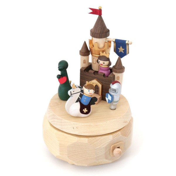 Boîte à musique Château aventure avec un chevalier, un écuyer, un dragon et une princesse dans son château