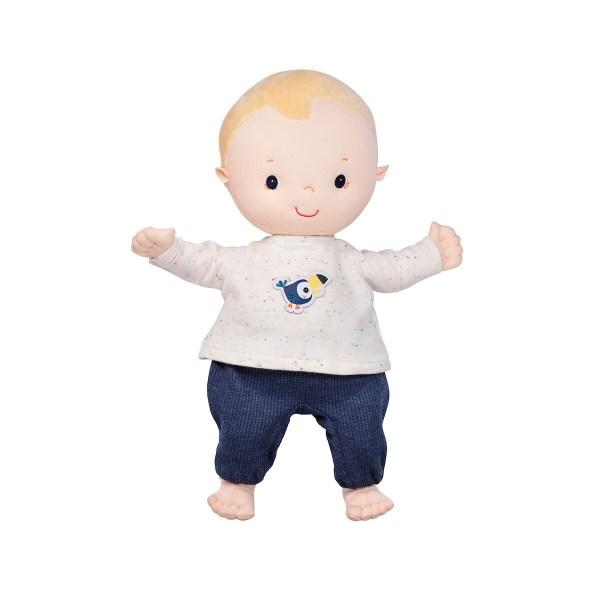 Ce pyjama pour poupon convient aux poupons d'environ 36 cm. Le pyjama se compose d'un haut beige avec un joli motif de Pablo le toucan sur le dessus et d'un pantalon bleu marine.