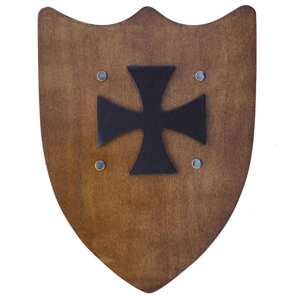 Bouclier rustique de couleur bois avec une croix de templier noir au centre