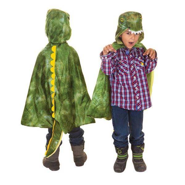 Cape de T-Rex portée par un enfant de dos et un enfant de face pour montrer les 2 côtés