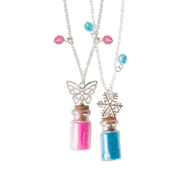 2 Colliers poussière de fée rose et bleu