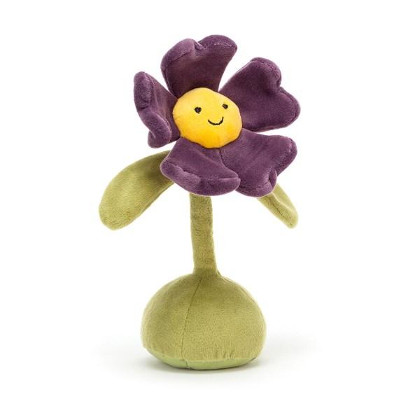 Elle représente une petite poupée en forme de fleur avec deux feuilles pour les bras. Un gros pied lui permet de tenir bien droit avec une tige au bout de laquelle se dresse une magnifique fleur. Au milieu de la fleur se trouve un visage souriant qui donne vie au doudou et en fait un personnage attachant dont on ne veut plus se séparer !